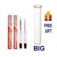 2 ALCOHOL HYDROMETER MOONSHINE WHISKEY WINE LIQUOR SUGAR + TEST GLASS TUBE BIG
