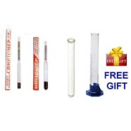 2 pcs ALCOHOL HYDROMETER MOONSHINE WHISKEY WINE LIQUOR SUGAR w 2 pcs TEST TUBE