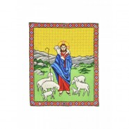 Jesus Good Shepherd Hand Embroidered Icon