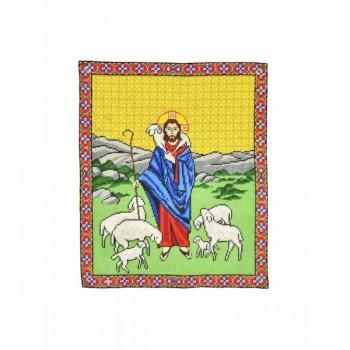 Jesus Good Shepherd Hand Embroidered Icon