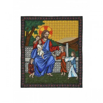 Jesus Blesses the Children Hand Embroidered Icon