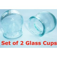 Set of 2 Glass Cup Medical Cupping Chinese Massage Therapy Anti Cellulite New