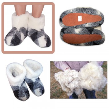 WOOL WOMEN'S GENUINE SHEEPSKIN SLIPPERS BOOTS 100% PURE BUY AT MUKUNDASTORE.COM